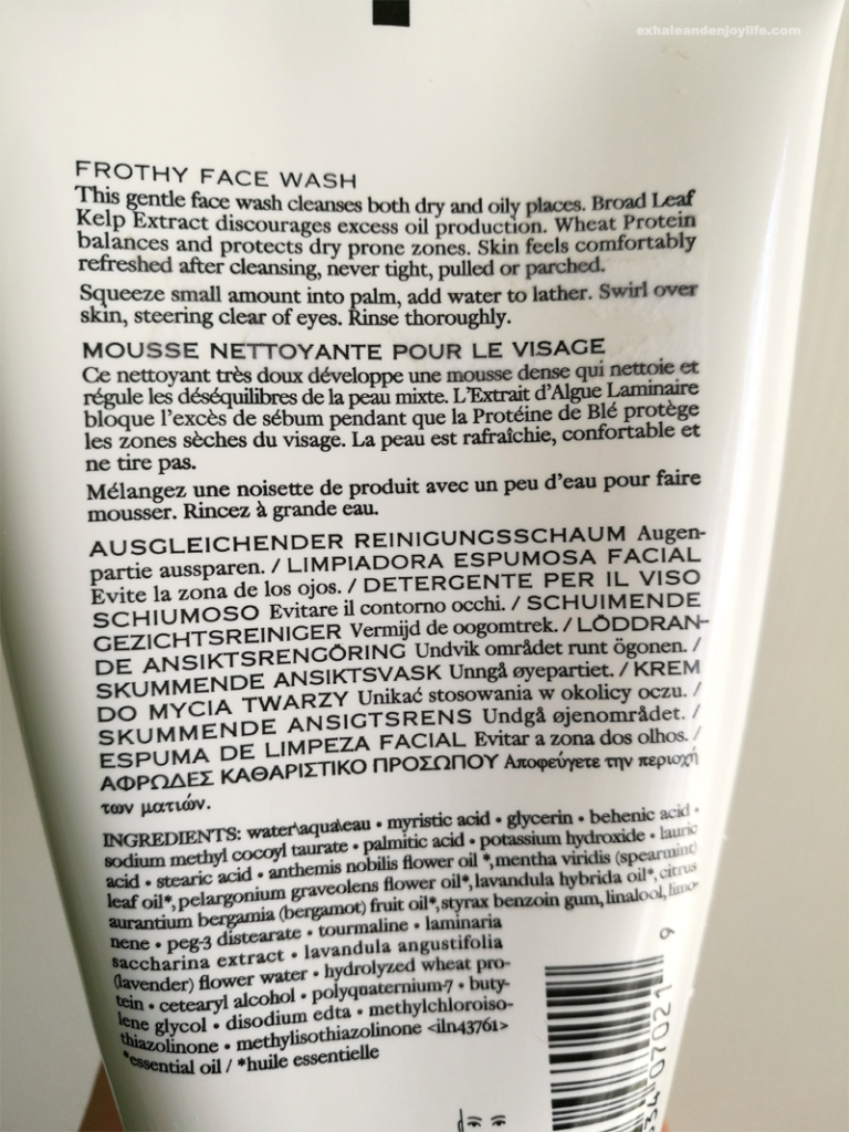 Frothy Face Wash Ingredients